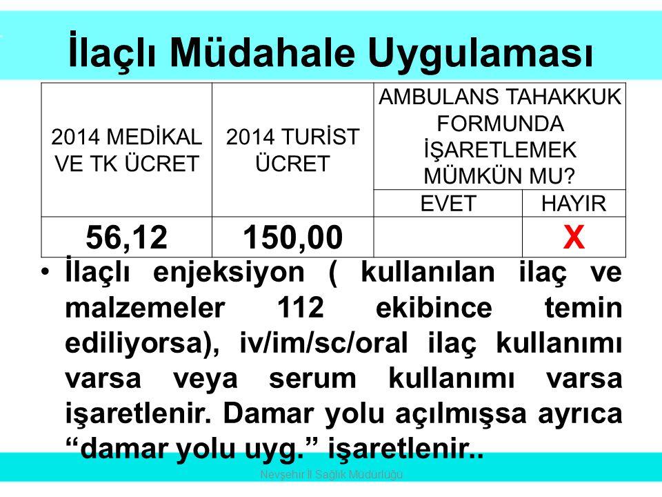 İlaçlı Müdahale Uygulaması •İlaçlı enjeksiyon ( kullanılan ilaç ve malzemeler 112 ekibince temin ediliyorsa), iv/im/sc/oral ilaç kullanımı varsa veya