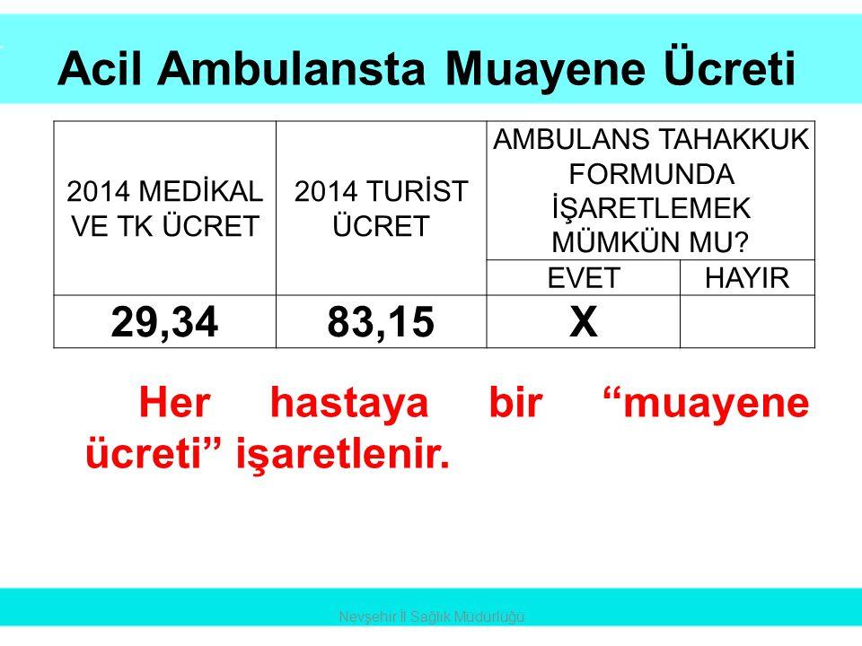 """Acil Ambulansta Muayene Ücreti Nevşehir İl Sağlık Müdürlüğü Her hastaya bir """"muayene ücreti"""" işaretlenir. 2014 MEDİKAL VE TK ÜCRET 2014 TURİST ÜCRET A"""