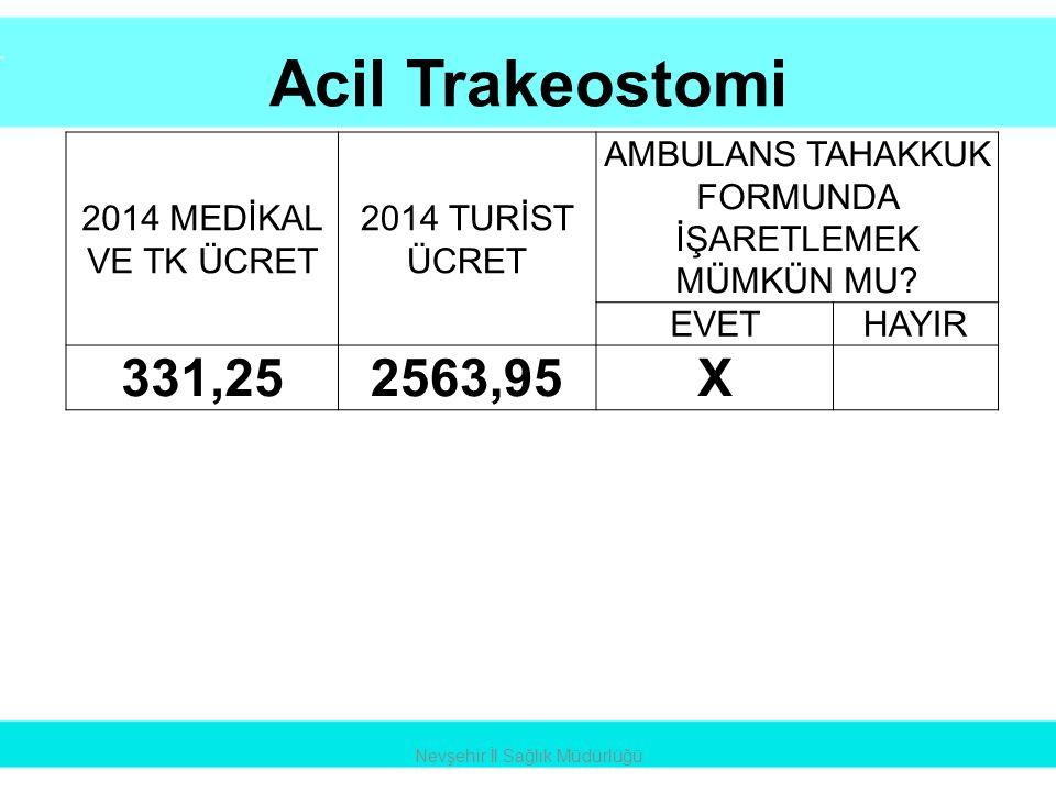 Acil Trakeostomi Nevşehir İl Sağlık Müdürlüğü 2014 MEDİKAL VE TK ÜCRET 2014 TURİST ÜCRET AMBULANS TAHAKKUK FORMUNDA İŞARETLEMEK MÜMKÜN MU? EVETHAYIR 3