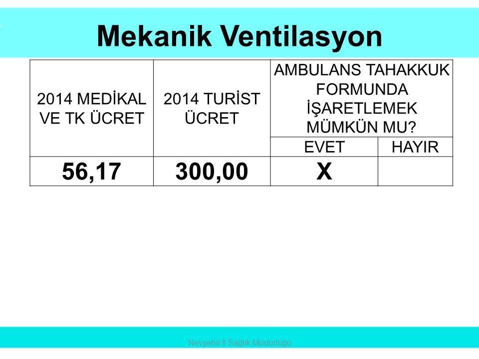 Mekanik Ventilasyon Nevşehir İl Sağlık Müdürlüğü 2014 MEDİKAL VE TK ÜCRET 2014 TURİST ÜCRET AMBULANS TAHAKKUK FORMUNDA İŞARETLEMEK MÜMKÜN MU? EVETHAYI