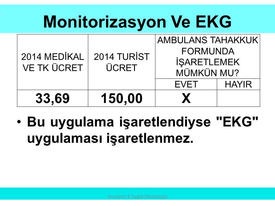 Monitorizasyon Ve EKG •Bu uygulama işaretlendiyse