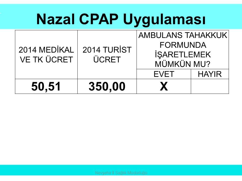 Nazal CPAP Uygulaması Nevşehir İl Sağlık Müdürlüğü 2014 MEDİKAL VE TK ÜCRET 2014 TURİST ÜCRET AMBULANS TAHAKKUK FORMUNDA İŞARETLEMEK MÜMKÜN MU? EVETHA