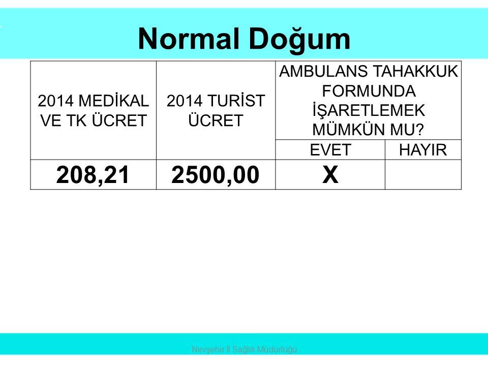 Normal Doğum Nevşehir İl Sağlık Müdürlüğü 2014 MEDİKAL VE TK ÜCRET 2014 TURİST ÜCRET AMBULANS TAHAKKUK FORMUNDA İŞARETLEMEK MÜMKÜN MU? EVETHAYIR 208,2