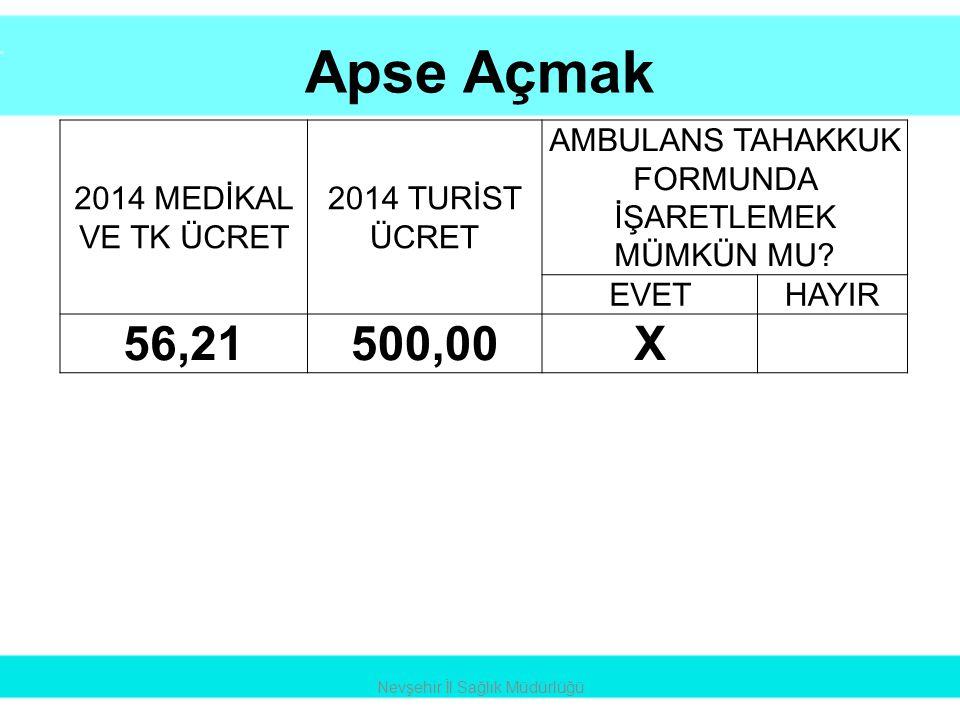 Apse Açmak Nevşehir İl Sağlık Müdürlüğü 2014 MEDİKAL VE TK ÜCRET 2014 TURİST ÜCRET AMBULANS TAHAKKUK FORMUNDA İŞARETLEMEK MÜMKÜN MU? EVETHAYIR 56,2150