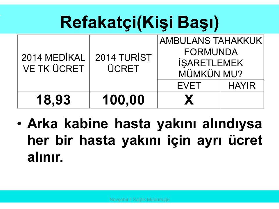 Refakatçi(Kişi Başı) •Arka kabine hasta yakını alındıysa her bir hasta yakını için ayrı ücret alınır. Nevşehir İl Sağlık Müdürlüğü 2014 MEDİKAL VE TK