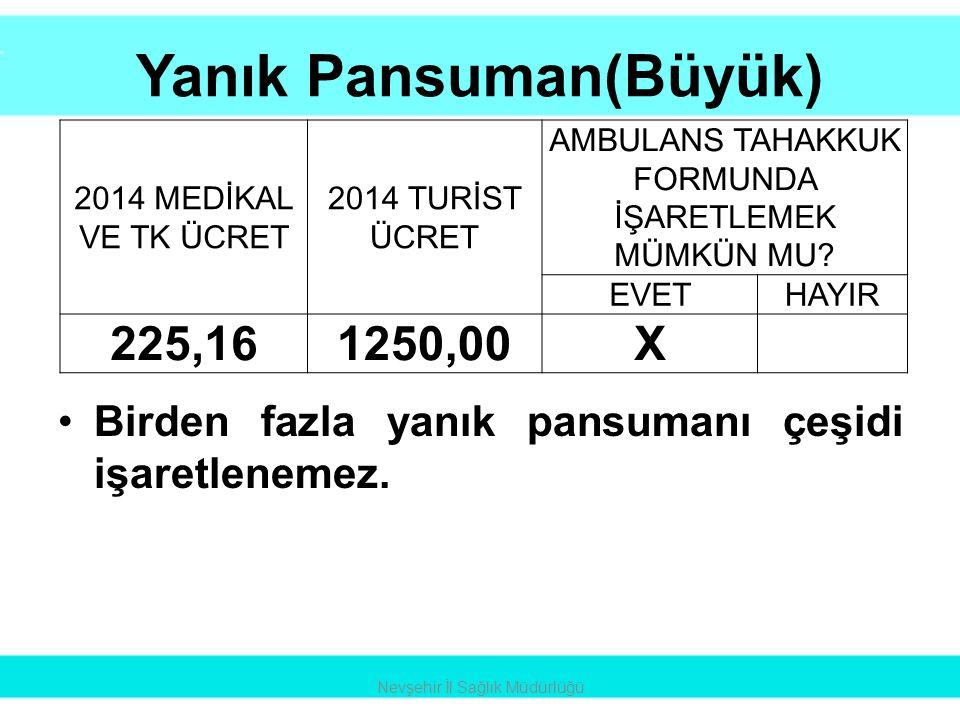 Yanık Pansuman(Büyük) •Birden fazla yanık pansumanı çeşidi işaretlenemez. Nevşehir İl Sağlık Müdürlüğü 2014 MEDİKAL VE TK ÜCRET 2014 TURİST ÜCRET AMBU