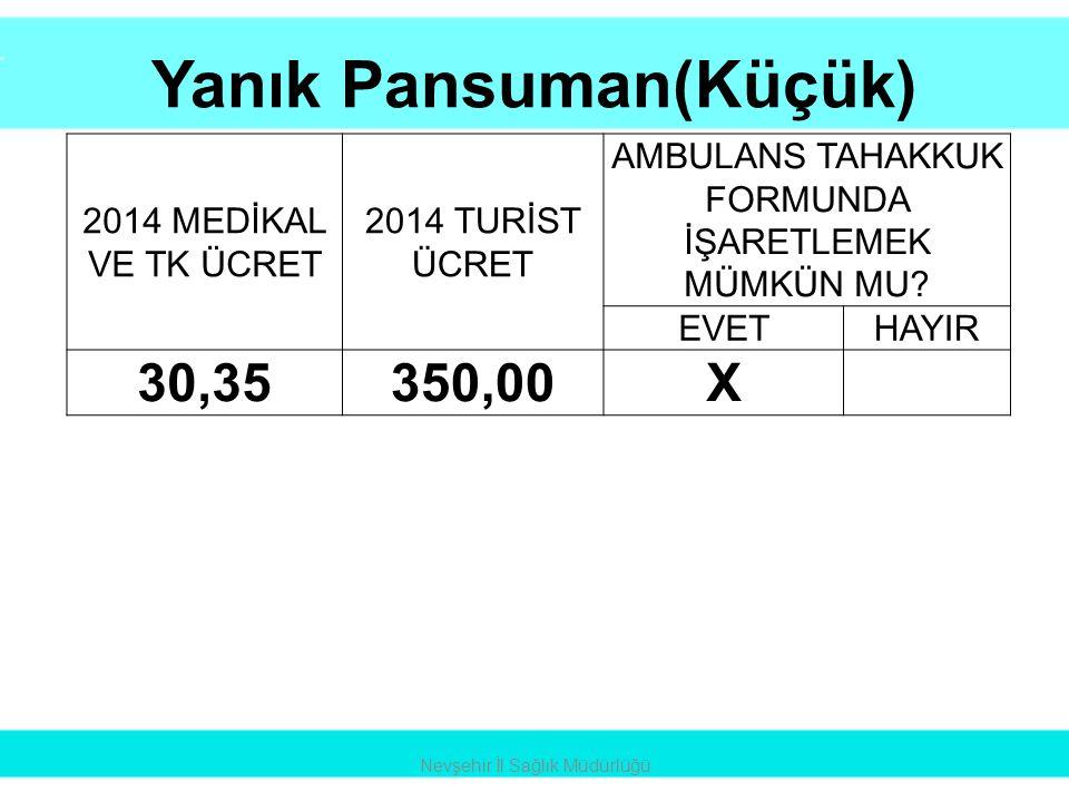 Yanık Pansuman(Küçük) Nevşehir İl Sağlık Müdürlüğü 2014 MEDİKAL VE TK ÜCRET 2014 TURİST ÜCRET AMBULANS TAHAKKUK FORMUNDA İŞARETLEMEK MÜMKÜN MU? EVETHA