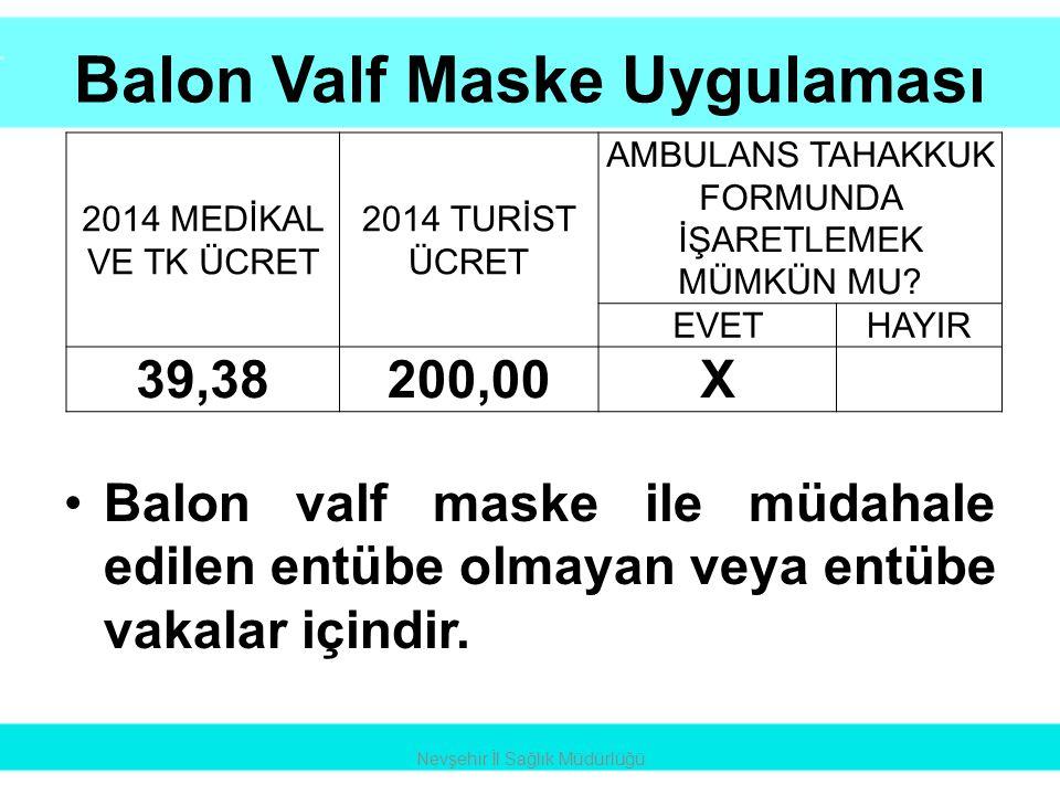 Balon Valf Maske Uygulaması •Balon valf maske ile müdahale edilen entübe olmayan veya entübe vakalar içindir. Nevşehir İl Sağlık Müdürlüğü 2014 MEDİKA