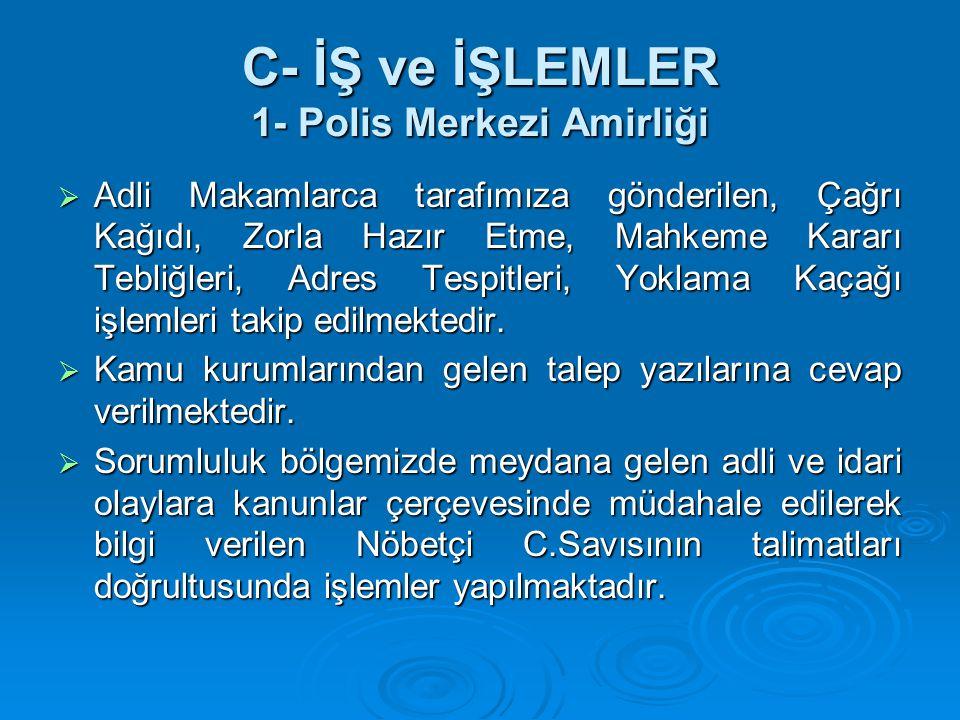 C- İŞ ve İŞLEMLER 1- Polis Merkezi Amirliği  Adli Makamlarca tarafımıza gönderilen, Çağrı Kağıdı, Zorla Hazır Etme, Mahkeme Kararı Tebliğleri, Adres