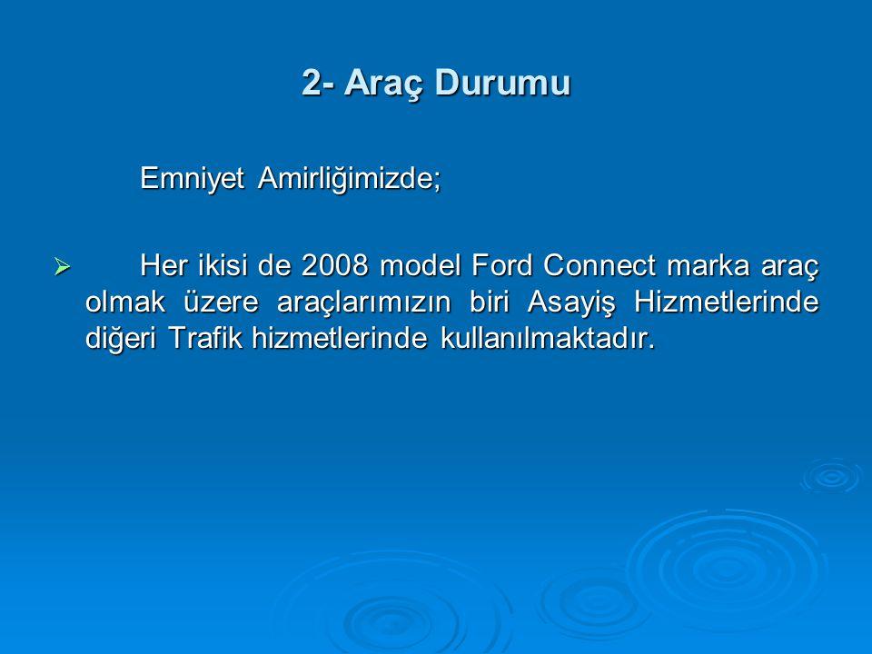 2- Araç Durumu Emniyet Amirliğimizde;  Her ikisi de 2008 model Ford Connect marka araç olmak üzere araçlarımızın biri Asayiş Hizmetlerinde diğeri Tra