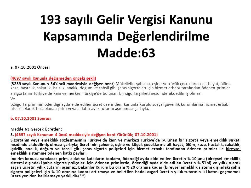 193 sayılı Gelir Vergisi Kanunu Kapsamında Değerlendirilme Madde:63 a. 07.10.2001 Öncesi (4697 sayılı Kanunla değişmeden önceki şekli) (3239 sayılı Ka