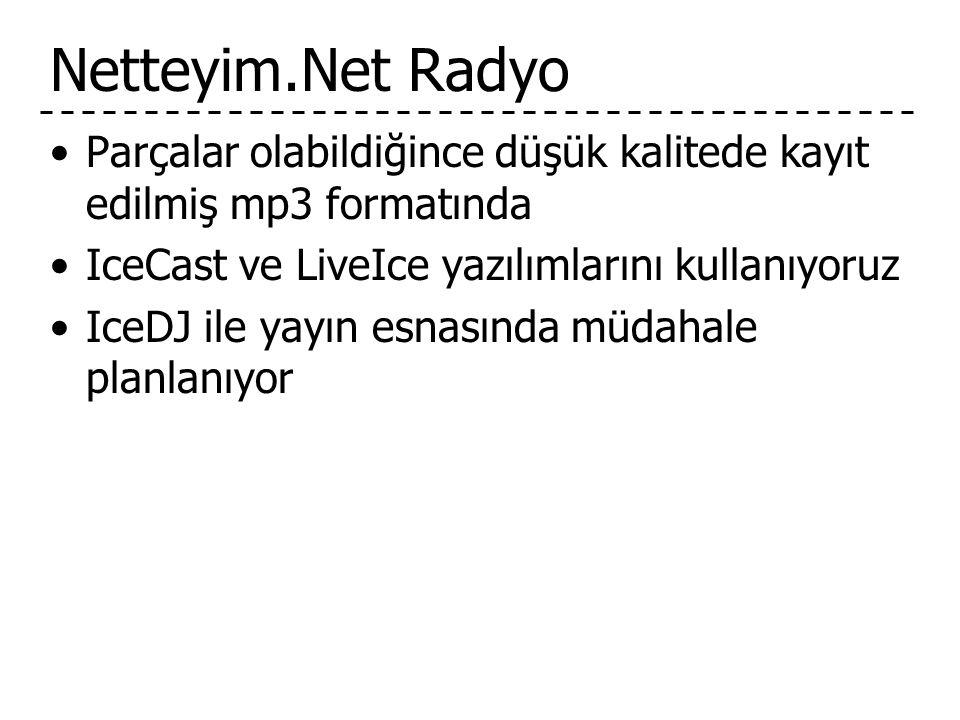 Netteyim.Net Radyo •Parçalar olabildiğince düşük kalitede kayıt edilmiş mp3 formatında •IceCast ve LiveIce yazılımlarını kullanıyoruz •IceDJ ile yayın esnasında müdahale planlanıyor
