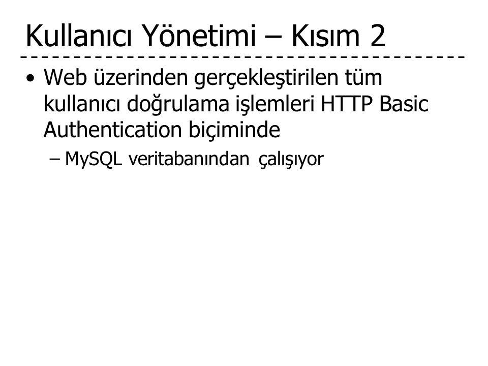 Kullanıcı Yönetimi – Kısım 2 •Web üzerinden gerçekleştirilen tüm kullanıcı doğrulama işlemleri HTTP Basic Authentication biçiminde –MySQL veritabanından çalışıyor