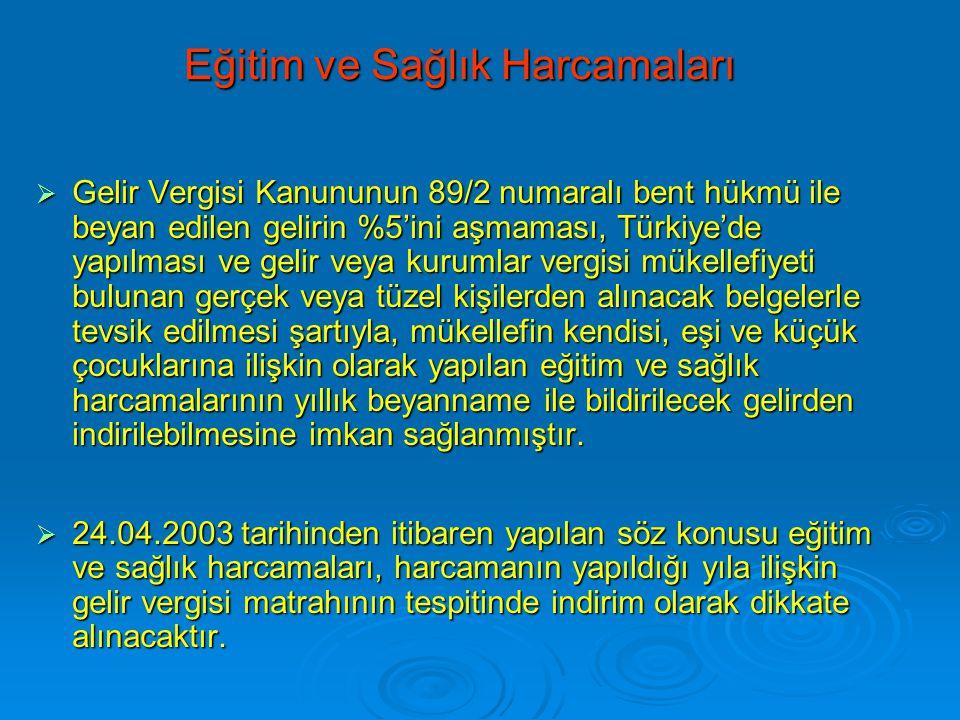 Eğitim ve Sağlık Harcamaları  Gelir Vergisi Kanununun 89/2 numaralı bent hükmü ile beyan edilen gelirin %5'ini aşmaması, Türkiye'de yapılması ve geli