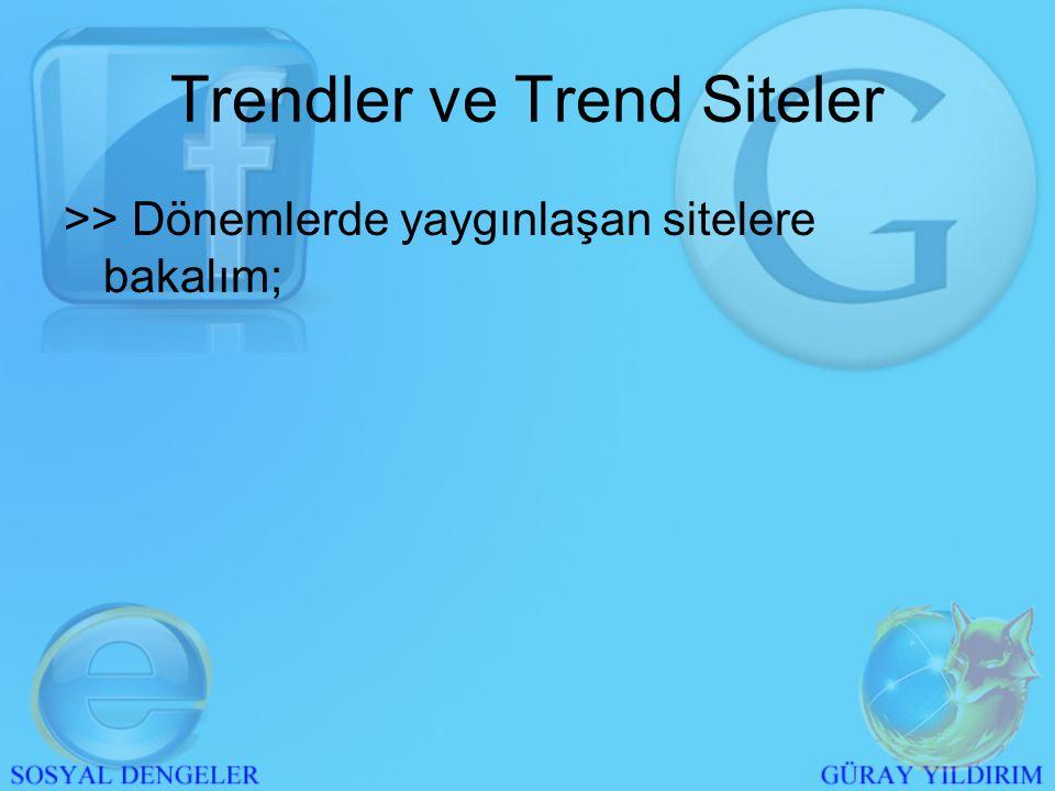 >> Medyada bir anda sıkça söz edilmeye başlanması >> Övülmesi >> Kalitesinden bahsedilmesi - Google'ın trend kalması; - Türkiye'de Google hitlerinin bir anda tavan yapması Trendler ve Trend Siteler