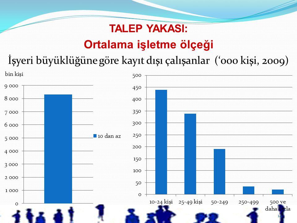 14 TALEP YAKASI: Ortalama işletme ölçeği İşyeri büyüklüğüne göre kayıt dışı çalışanlar ('000 kişi, 2009)