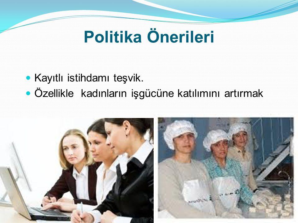 Politika Önerileri  Kayıtlı istihdamı teşvik.  Özellikle kadınların işgücüne katılımını artırmak 25