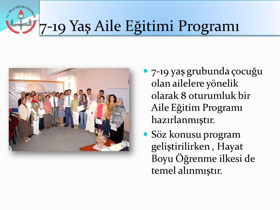 7-19 Yaş Aile Eğitimi Programı  7-19 yaş grubunda çocuğu olan ailelere yönelik olarak 8 oturumluk bir Aile Eğitim Programı hazırlanmıştır.  Söz konu