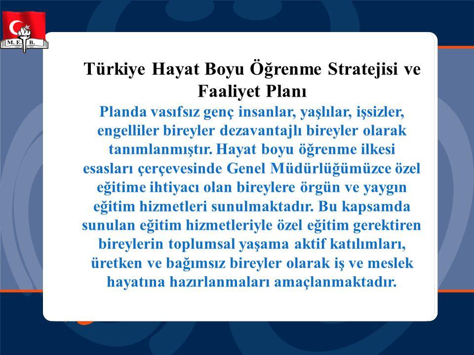 Türkiye Hayat Boyu Öğrenme Stratejisi ve Faaliyet Planı Planda vasıfsız genç insanlar, yaşlılar, işsizler, engelliler bireyler dezavantajlı bireyler o