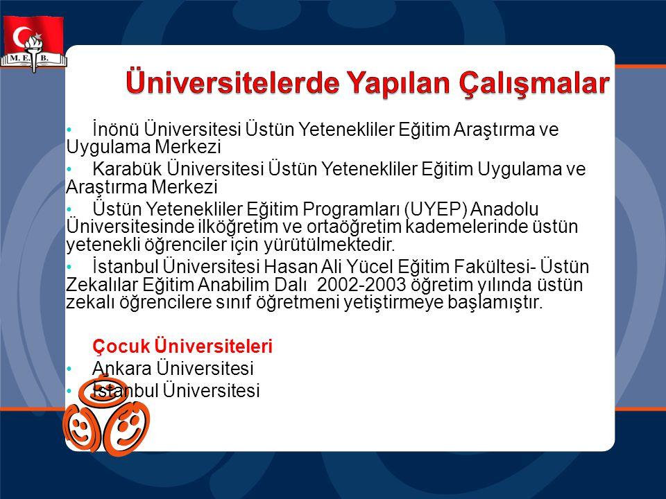 • İnönü Üniversitesi Üstün Yetenekliler Eğitim Araştırma ve Uygulama Merkezi • Karabük Üniversitesi Üstün Yetenekliler Eğitim Uygulama ve Araştırma Me