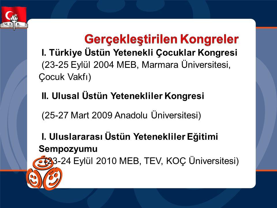 I. Türkiye Üstün Yetenekli Çocuklar Kongresi (23-25 Eylül 2004 MEB, Marmara Üniversitesi, Çocuk Vakfı) II. Ulusal Üstün Yetenekliler Kongresi (25-27 M