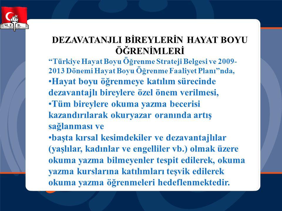 """DEZAVATANJLI BİREYLERİN HAYAT BOYU ÖĞRENİMLERİ """"Türkiye Hayat Boyu Öğrenme Strateji Belgesi ve 2009- 2013 Dönemi Hayat Boyu Öğrenme Faaliyet Planı""""nda"""