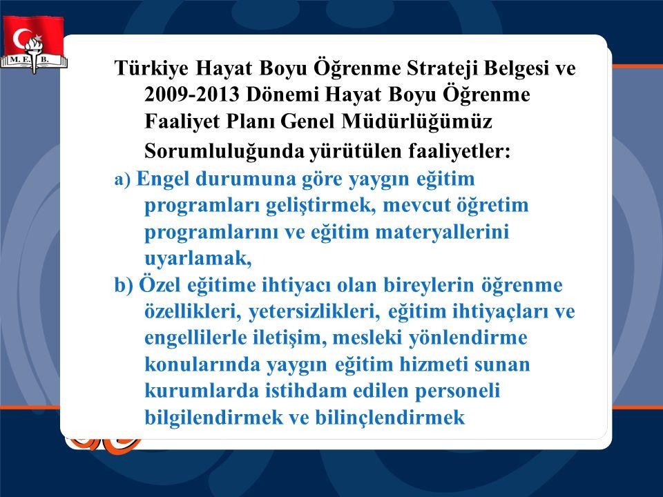 Türkiye Hayat Boyu Öğrenme Strateji Belgesi ve 2009-2013 Dönemi Hayat Boyu Öğrenme Faaliyet Planı Genel Müdürlüğümüz Sorumluluğunda yürütülen faaliyet