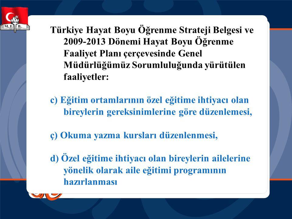 Türkiye Hayat Boyu Öğrenme Strateji Belgesi ve 2009-2013 Dönemi Hayat Boyu Öğrenme Faaliyet Planı çerçevesinde Genel Müdürlüğümüz Sorumluluğunda yürüt