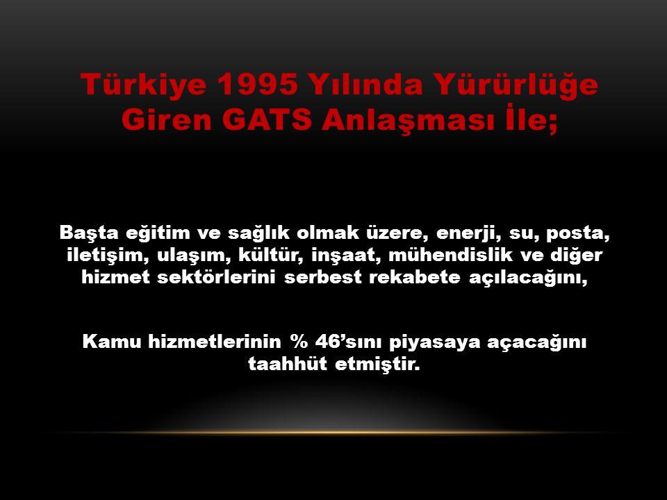 Türkiye1994 Yılında Gats Anlaşmasına Kurucu Üye Olarak İmza Attı ve Anlaşma TBMM'de 25 şubat 1995'te Onaylandı ve Yürürlüğe Girdi. Türkiye Gats'a İmza