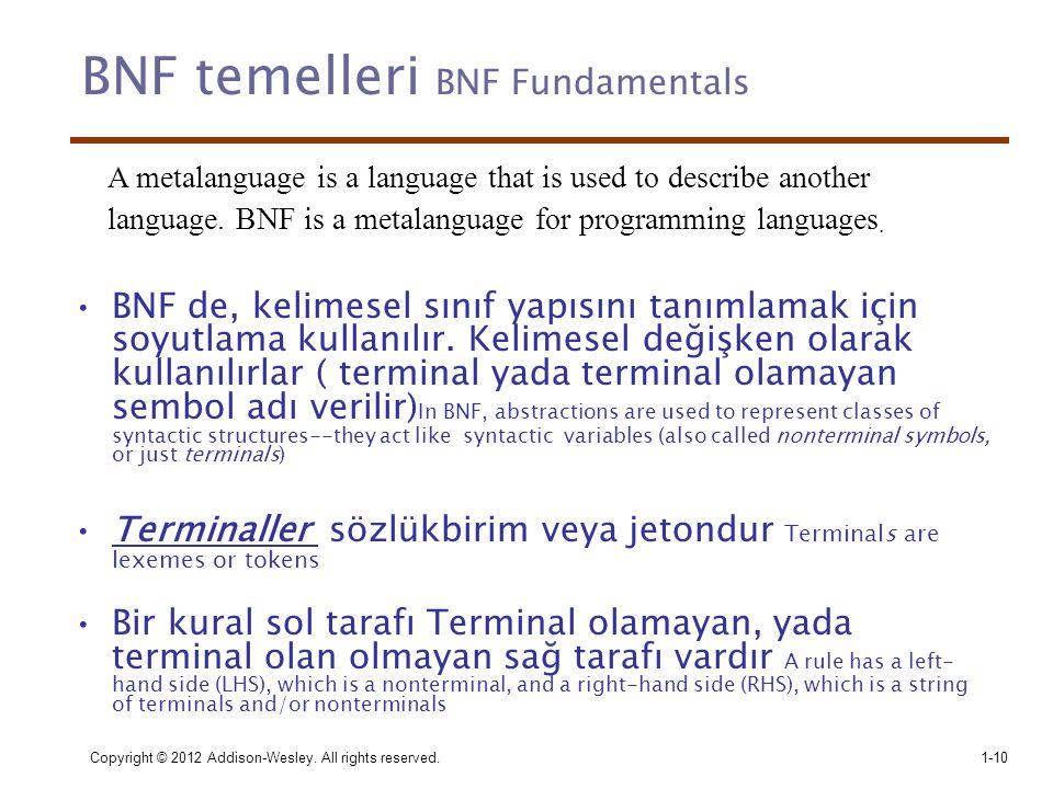 Copyright © 2012 Addison-Wesley. All rights reserved.1-10 BNF temelleri BNF Fundamentals •BNF de, kelimesel sınıf yapısını tanımlamak için soyutlama k