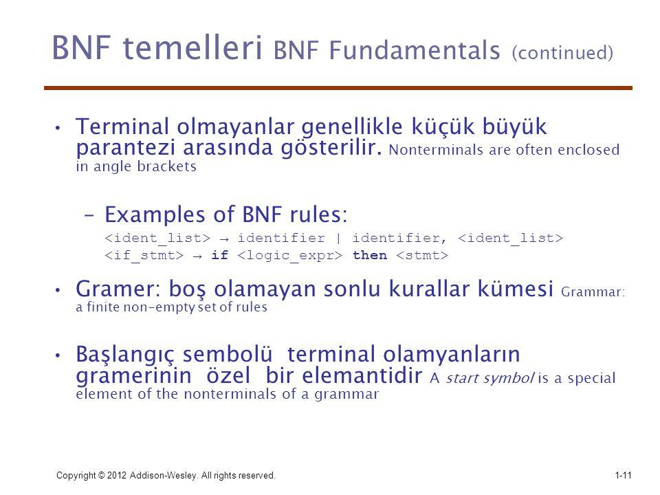 BNF temelleri BNF Fundamentals (continued) •Terminal olmayanlar genellikle küçük büyük parantezi arasında gösterilir. Nonterminals are often enclosed