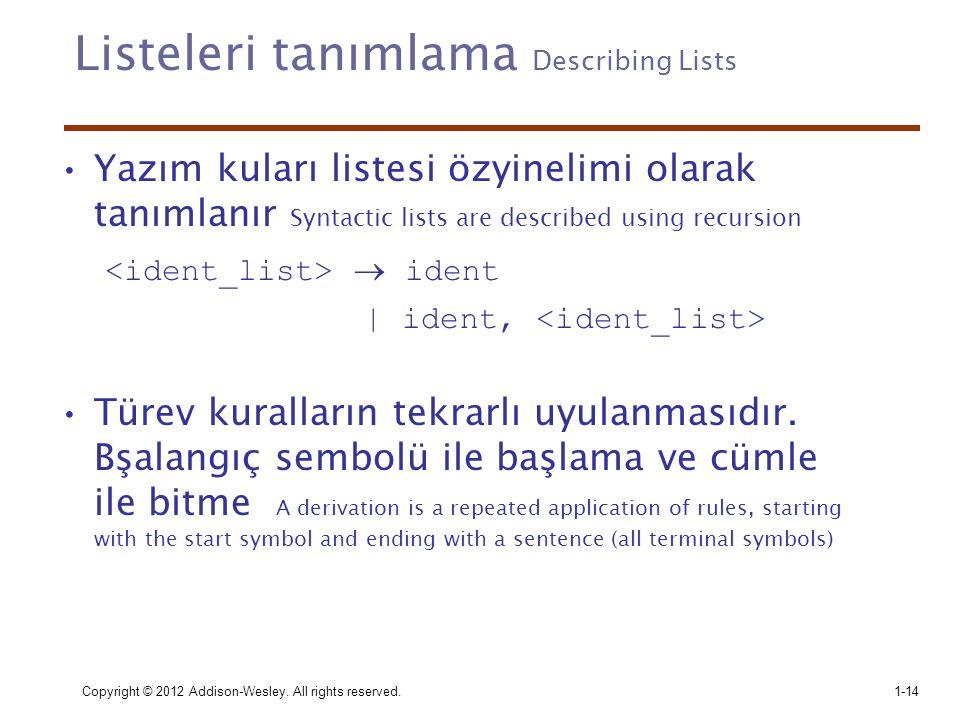 Copyright © 2012 Addison-Wesley. All rights reserved.1-14 Listeleri tanımlama Describing Lists •Yazım kuları listesi özyinelimi olarak tanımlanır Synt