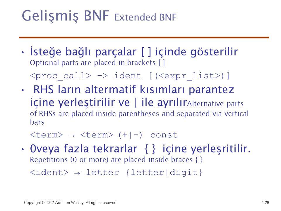 Copyright © 2012 Addison-Wesley. All rights reserved.1-29 Gelişmiş BNF Extended BNF •İsteğe bağlı parçalar [ ] içinde gösterilir Optional parts are pl