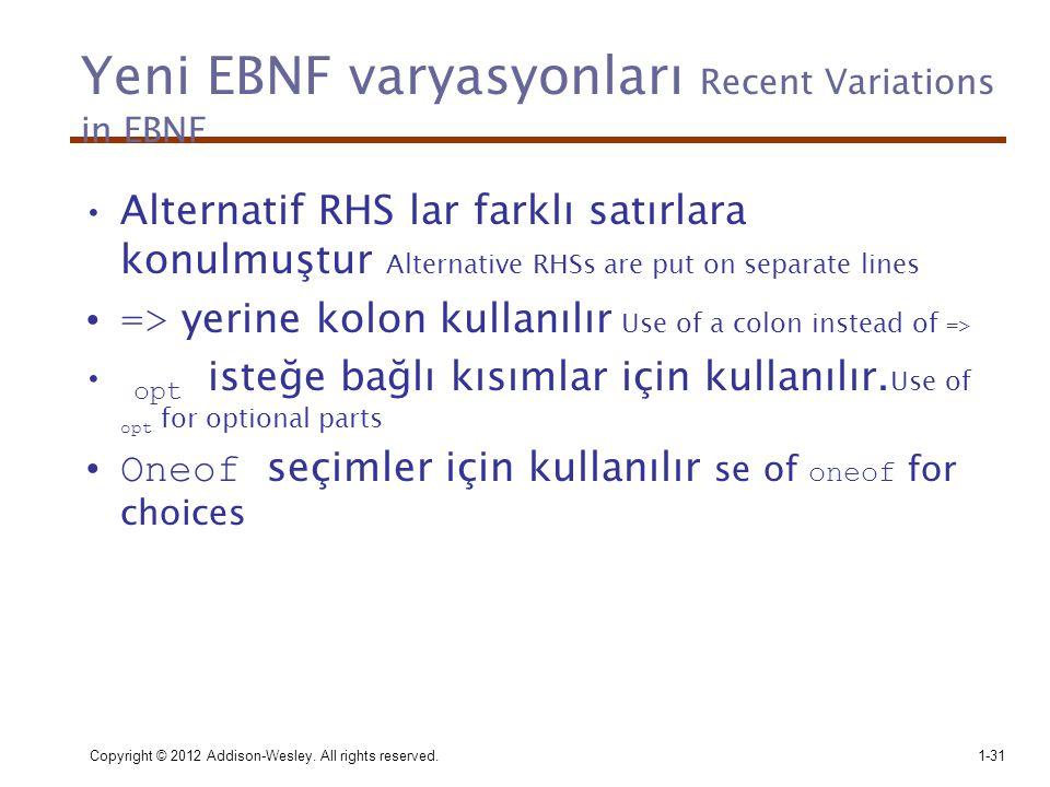 Copyright © 2012 Addison-Wesley. All rights reserved.1-31 Yeni EBNF varyasyonları Recent Variations in EBNF •Alternatif RHS lar farklı satırlara konul