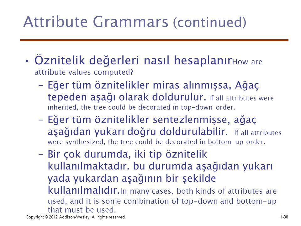 Copyright © 2012 Addison-Wesley. All rights reserved.1-38 Attribute Grammars (continued) •Öznitelik değerleri nasıl hesaplanır How are attribute value