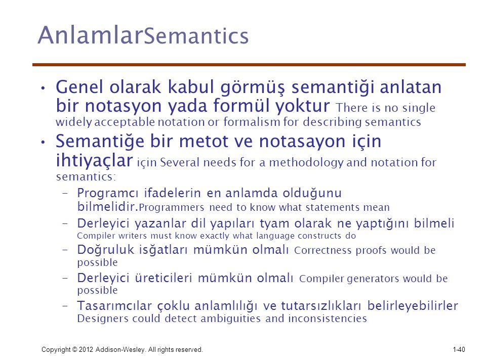 Copyright © 2012 Addison-Wesley. All rights reserved.1-40 Anlamlar Semantics •Genel olarak kabul görmüş semantiği anlatan bir notasyon yada formül yok