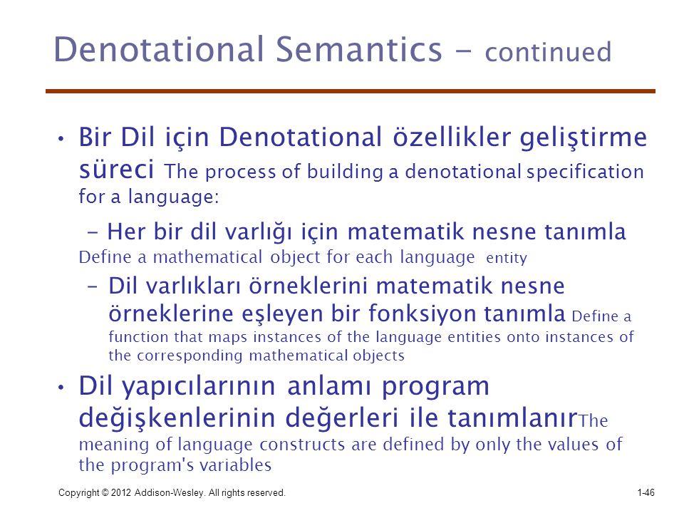 Denotational Semantics - continued •Bir Dil için Denotational özellikler geliştirme süreci The process of building a denotational specification for a