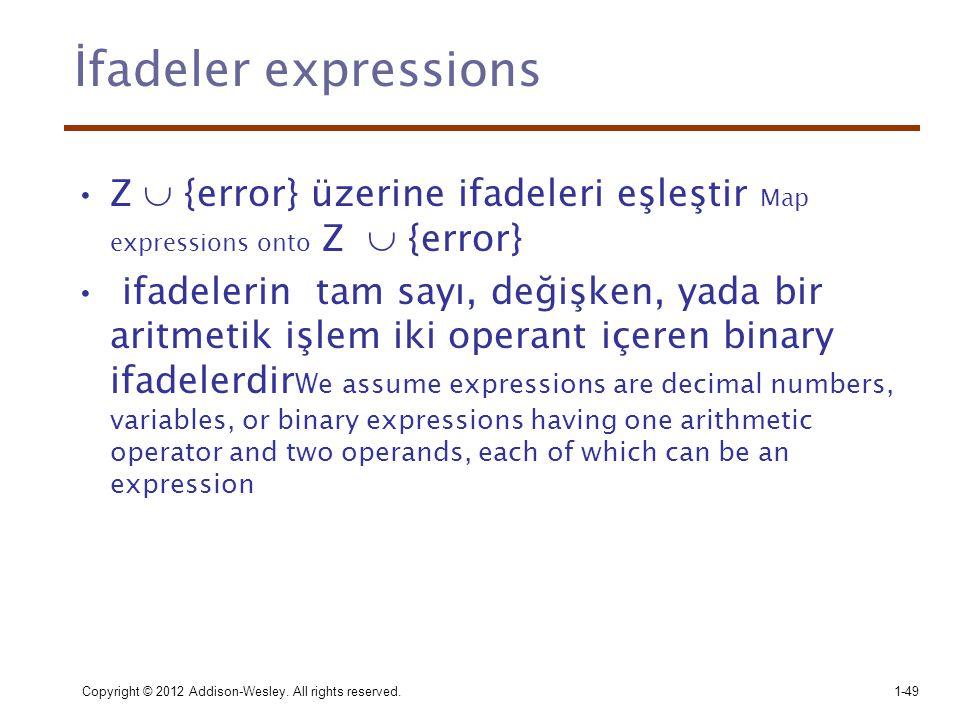 İfadeler expressions •Z  {error} üzerine ifadeleri eşleştir Map expressions onto Z  {error} • ifadelerin tam sayı, değişken, yada bir aritmetik işle
