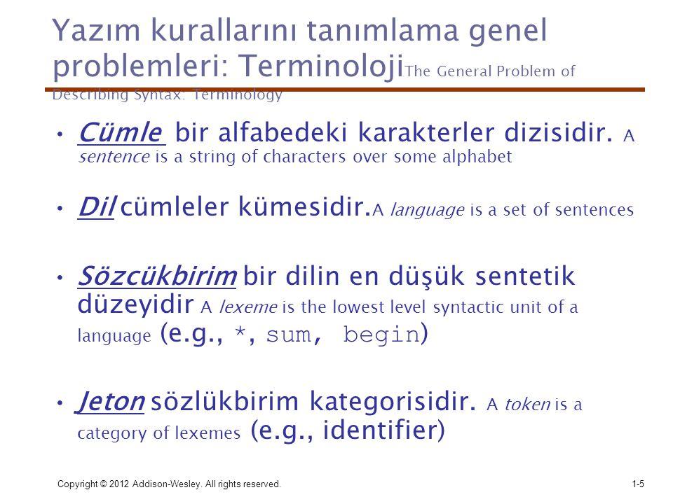 Copyright © 2012 Addison-Wesley. All rights reserved.1-5 Yazım kurallarını tanımlama genel problemleri: Terminoloji The General Problem of Describing