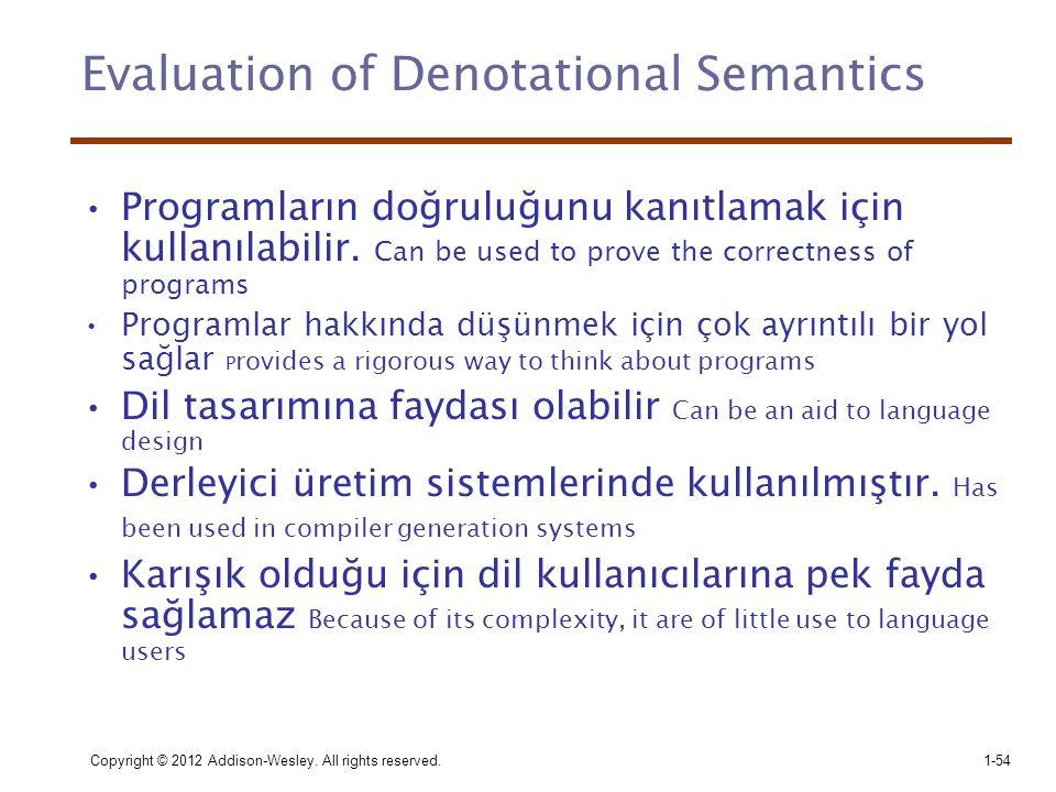 Evaluation of Denotational Semantics •Programların doğruluğunu kanıtlamak için kullanılabilir. Can be used to prove the correctness of programs •Progr