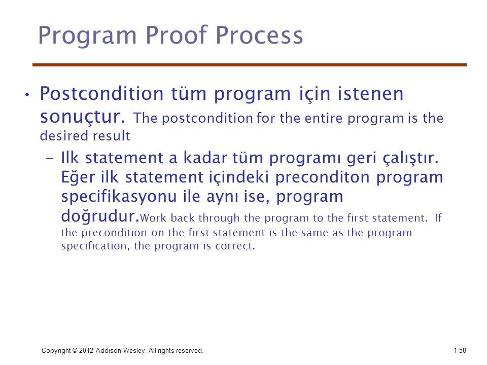 Copyright © 2012 Addison-Wesley. All rights reserved.1-58 Program Proof Process •Postcondition tüm program için istenen sonuçtur. The postcondition fo