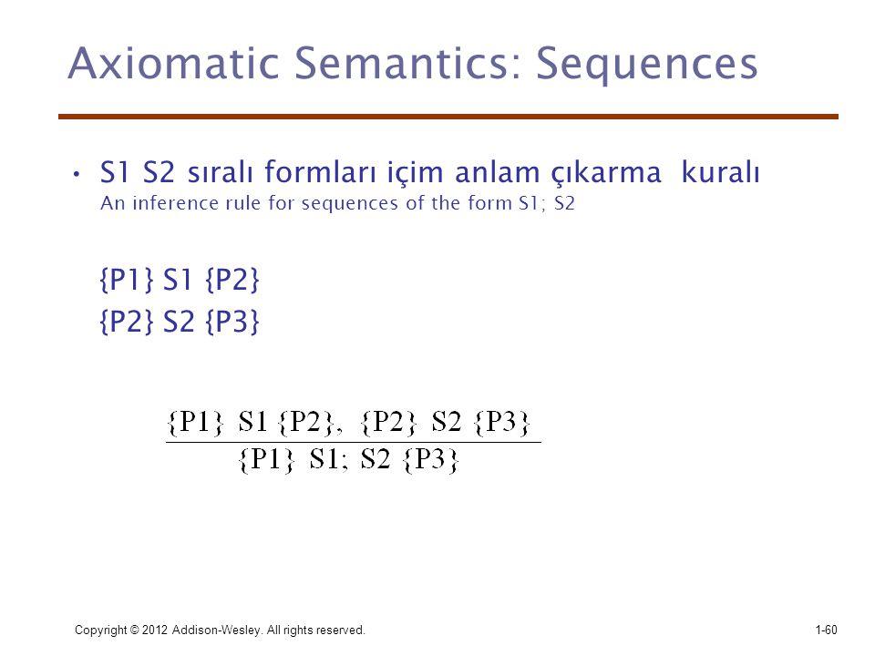 Copyright © 2012 Addison-Wesley. All rights reserved.1-60 Axiomatic Semantics: Sequences •S1 S2 sıralı formları içim anlam çıkarma kuralı An inference