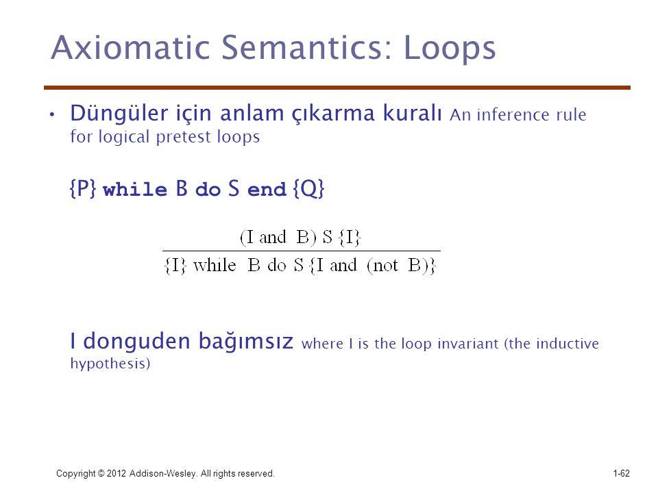 Copyright © 2012 Addison-Wesley. All rights reserved.1-62 Axiomatic Semantics: Loops •Düngüler için anlam çıkarma kuralı An inference rule for logical