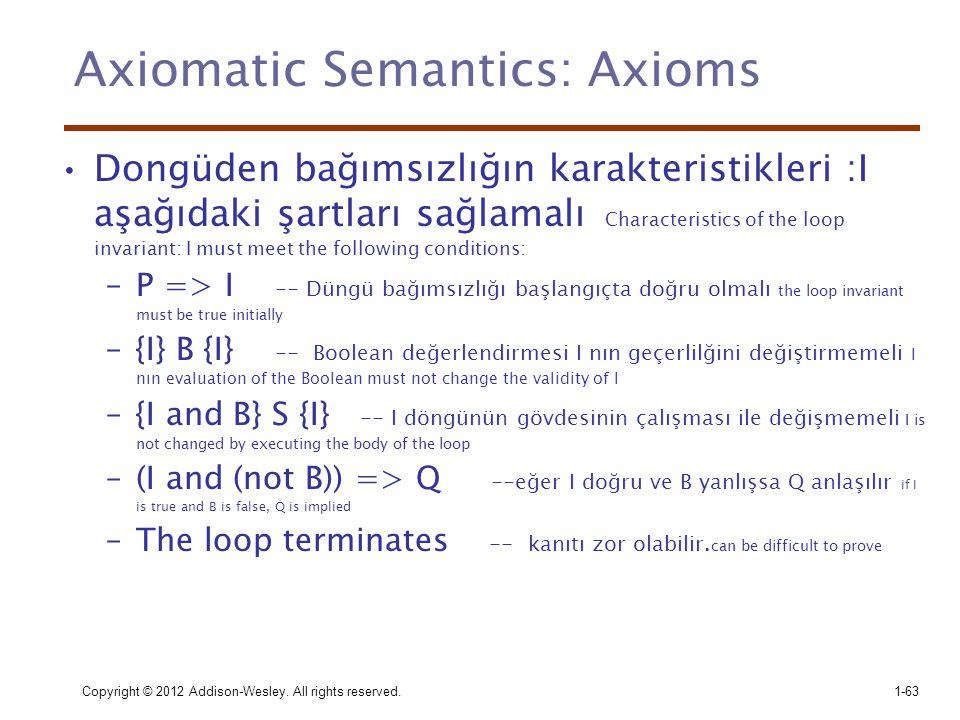 Copyright © 2012 Addison-Wesley. All rights reserved.1-63 Axiomatic Semantics: Axioms •Dongüden bağımsızlığın karakteristikleri :I aşağıdaki şartları