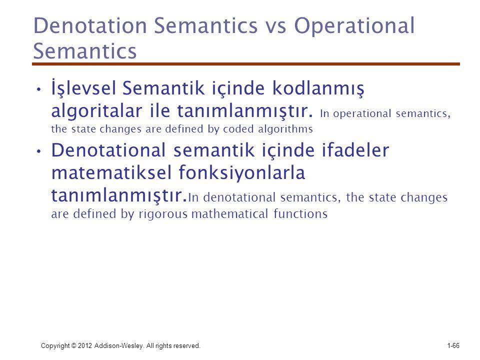 Copyright © 2012 Addison-Wesley. All rights reserved.1-66 Denotation Semantics vs Operational Semantics •İşlevsel Semantik içinde kodlanmış algoritala