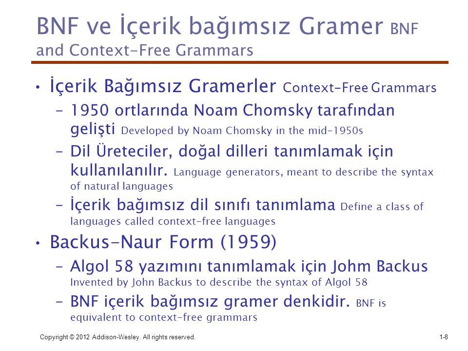 Copyright © 2012 Addison-Wesley. All rights reserved.1-8 BNF ve İçerik bağımsız Gramer BNF and Context-Free Grammars •İçerik Bağımsız Gramerler Contex