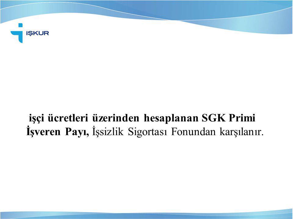 işçi ücretleri üzerinden hesaplanan SGK Primi İşveren Payı, İşsizlik Sigortası Fonundan karşılanır.