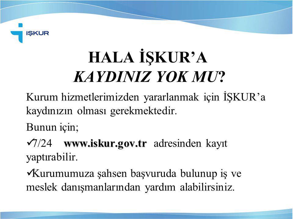 HALA İŞKUR'A KAYDINIZ YOK MU? Kurum hizmetlerimizden yararlanmak için İŞKUR'a kaydınızın olması gerekmektedir. Bunun için; www.iskur.gov.tr  7/24 www