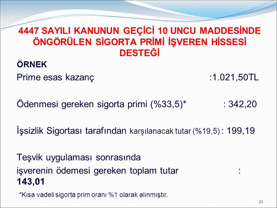 ÖRNEK Prime esas kazanç :1.021,50TL Ödenmesi gereken sigorta primi (%33,5)*: 342,20 İşsizlik Sigortası tarafından karşılanacak tutar (%19,5) : 199,19