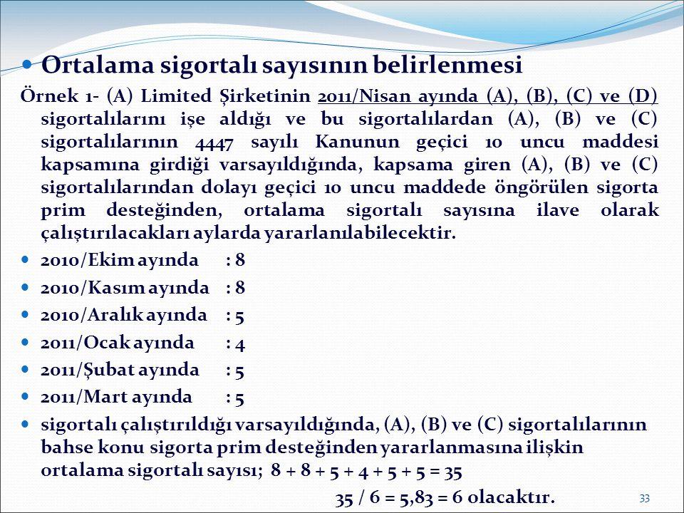  Ortalama sigortalı sayısının belirlenmesi Örnek 1- (A) Limited Şirketinin 2011/Nisan ayında (A), (B), (C) ve (D) sigortalılarını işe aldığı ve bu si